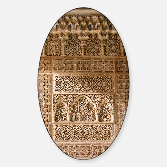 Islamic carvings, Alhambra, Spain Sticker (Oval)