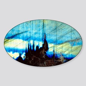 Iridescence in labradorite rock Sticker (Oval)