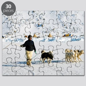 Inuit with dogs Puzzle