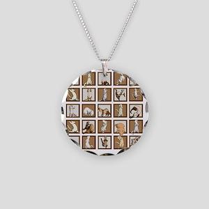 Ferret Squares Shower Curtai Necklace Circle Charm