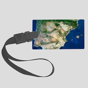 Iberian Peninsula, satellite ima Large Luggage Tag