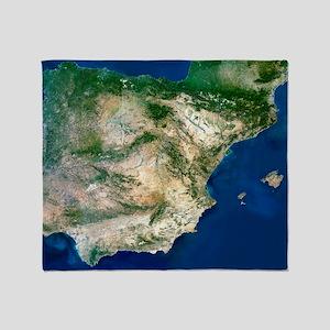 Iberian Peninsula, satellite image Throw Blanket