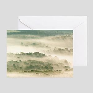 Morning mist over farmland Greeting Card