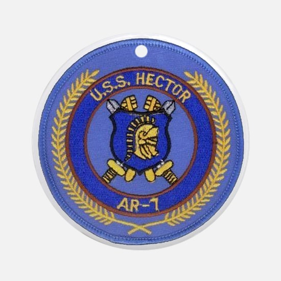 uss hector patch transparent Round Ornament