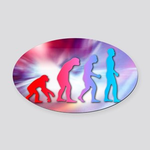 Human evolution Oval Car Magnet