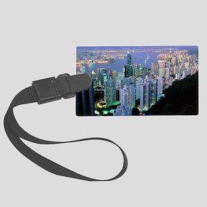 Hong Kong at dawn Large Luggage Tag