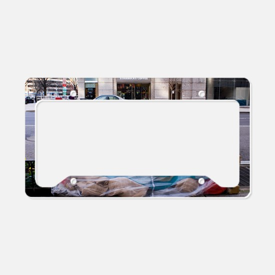 Homeless person in Washington License Plate Holder