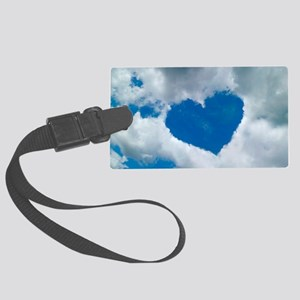 Heart-shaped cloud formation Large Luggage Tag