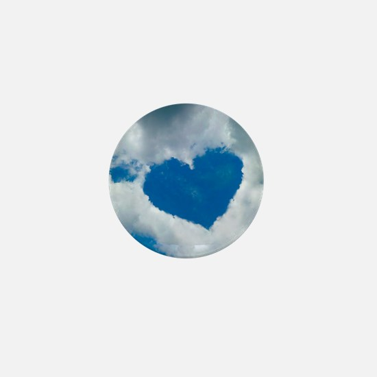 Heart-shaped cloud formation Mini Button