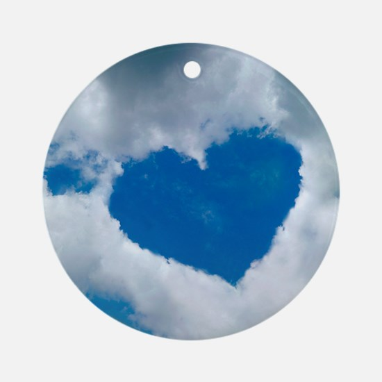 Heart-shaped cloud formation Round Ornament