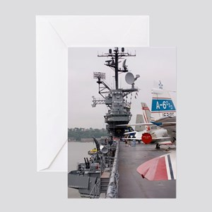 Military jets on aircraft carrier Greeting Card
