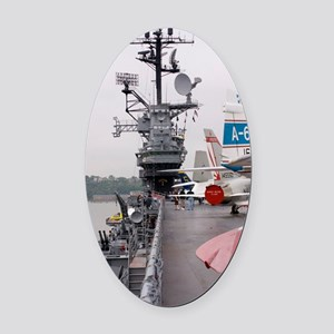 Military jets on aircraft carrier Oval Car Magnet