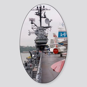 Military jets on aircraft carrier Sticker (Oval)