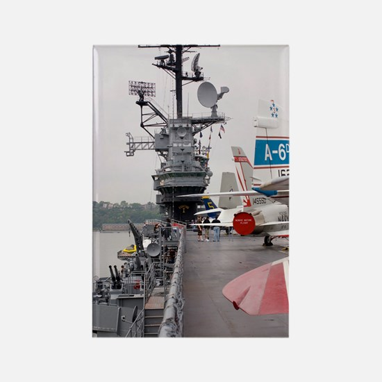 Military jets on aircraft carrier Rectangle Magnet