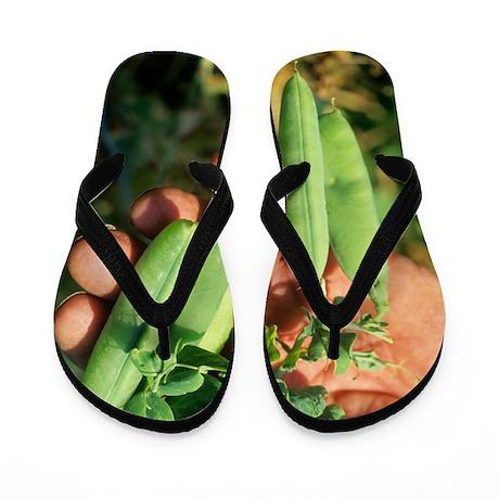 Harvesting peas Flip Flops