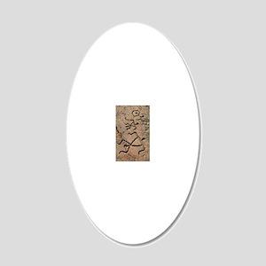 Hawaiian petroglyph 20x12 Oval Wall Decal