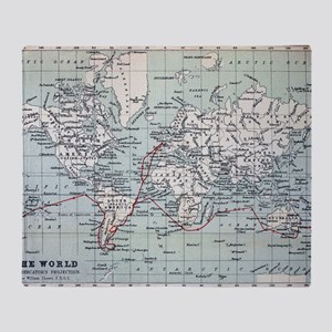 Map2 Darwin's Beagle Voyage South Am Throw Blanket