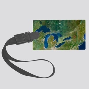 Great Lakes, satellite image Large Luggage Tag