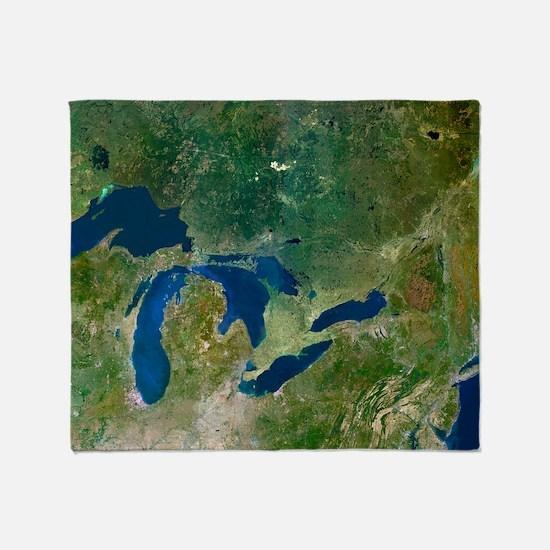 Great Lakes, satellite image Throw Blanket
