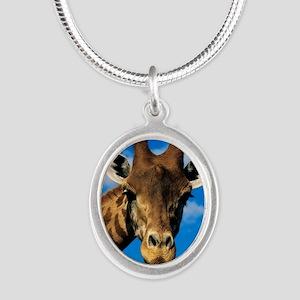 Giraffe Silver Oval Necklace