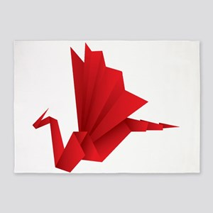 Red Origami Dragon Folded Paper 5'x7'Area Rug