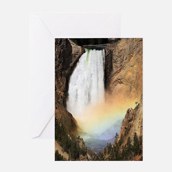 Lower Yellowstone Falls and spray ra Greeting Card