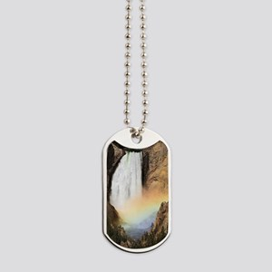 Lower Yellowstone Falls and spray rainbow Dog Tags