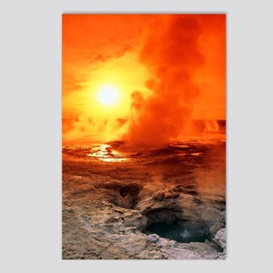 Geyser steaming at sunset Postcards (Package of 8)