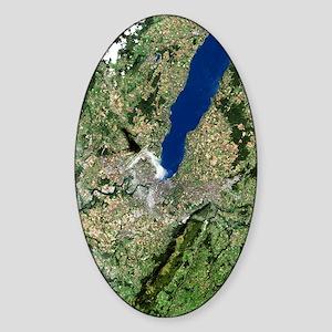 Geneva, satellite image Sticker (Oval)