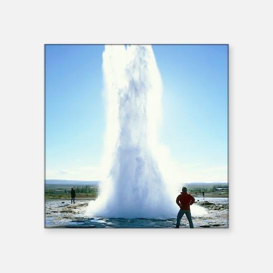"""Geyser erupting Square Sticker 3"""" x 3"""""""