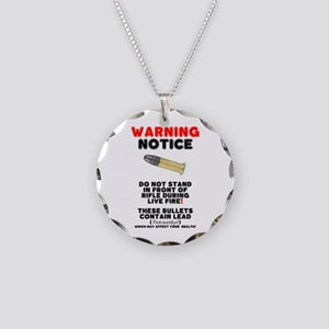 WARNING NOTICE - RIFLE BULLE Necklace Circle Charm