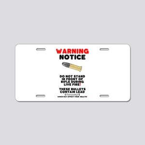 WARNING NOTICE - RIFLE BULL Aluminum License Plate