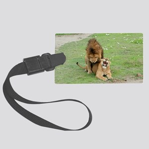 Lion and lioness mating Large Luggage Tag