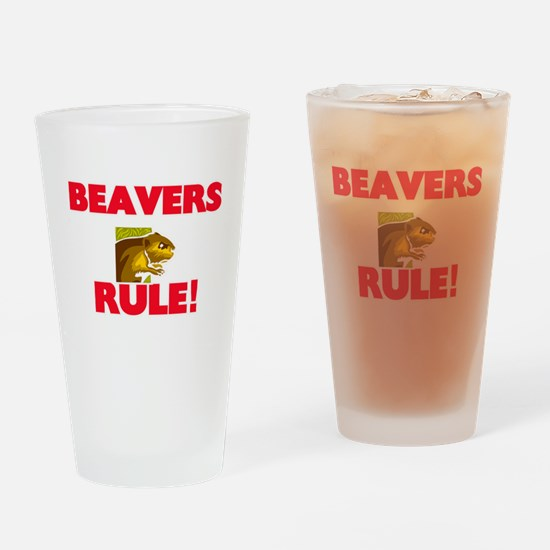 Beavers Rule! Drinking Glass