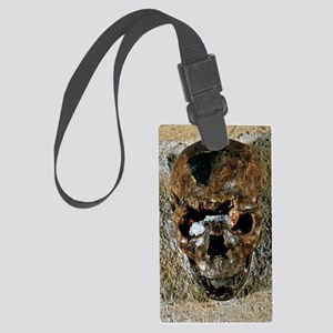 Fossilised skull of a Homo erect Large Luggage Tag