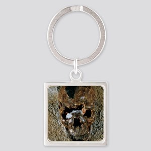 Fossilised skull of a Homo erectus Square Keychain