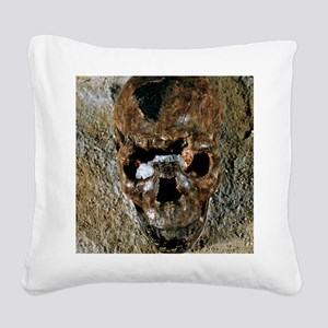 Fossilised skull of a Homo er Square Canvas Pillow