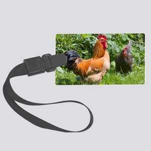 Free-range chickens Large Luggage Tag