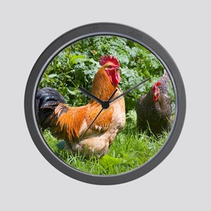 Free-range chickens Wall Clock
