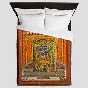 Krishna 19th Century Miniature paintin Queen Duvet
