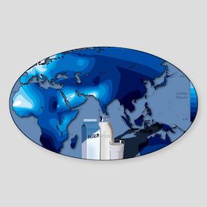 Lactose tolerance, Eurasia and Afri Sticker (Oval)