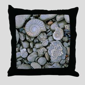 Fossilised ammonite shell among pebbl Throw Pillow