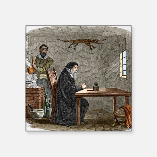 "John Dee and Edward Kelly Square Sticker 3"" x 3"""