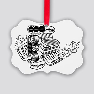Hot Rod Engine Picture Ornament