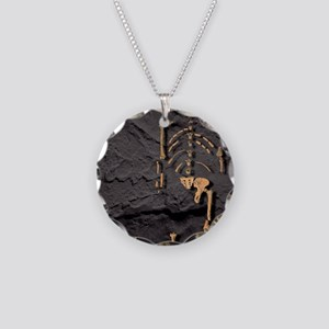 Footprints and skeleton of L Necklace Circle Charm