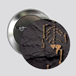 """Footprints and skeleton of Lucy 2.25"""" Button"""