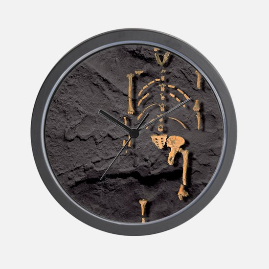 Footprints and skeleton of Lucy Wall Clock