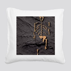 Footprints and skeleton of Lu Square Canvas Pillow
