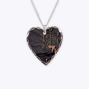 Footprints and skeleton of Lu Necklace Heart Charm