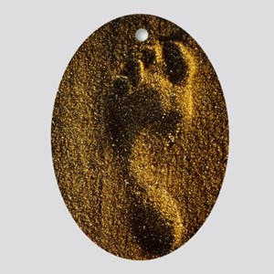 Footprint in sand Oval Ornament
